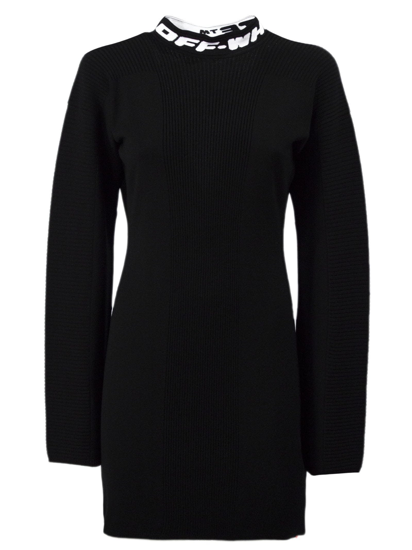 Buy Off-White Black Knit Mini Dress online, shop Off-White with free shipping