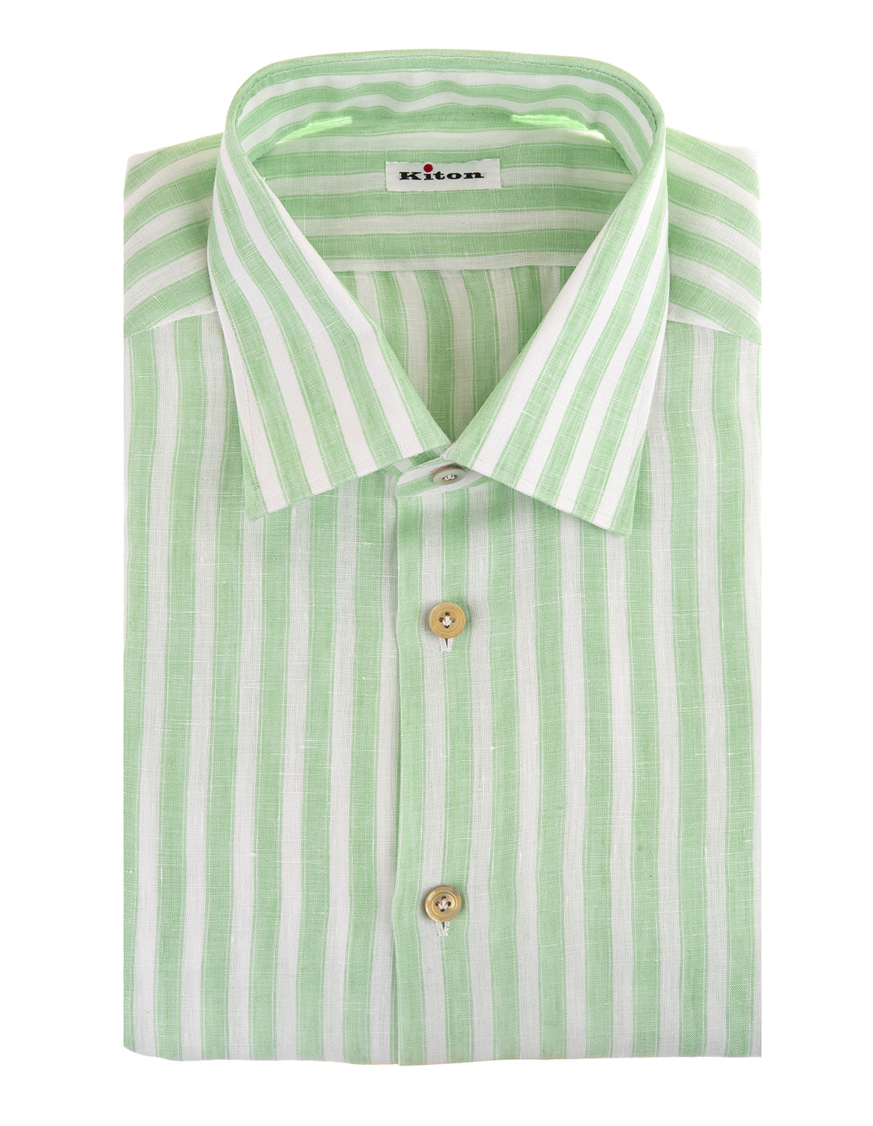 Kiton MAN LINEN SHIRT WITH WHITE AND GREEN STRIPES