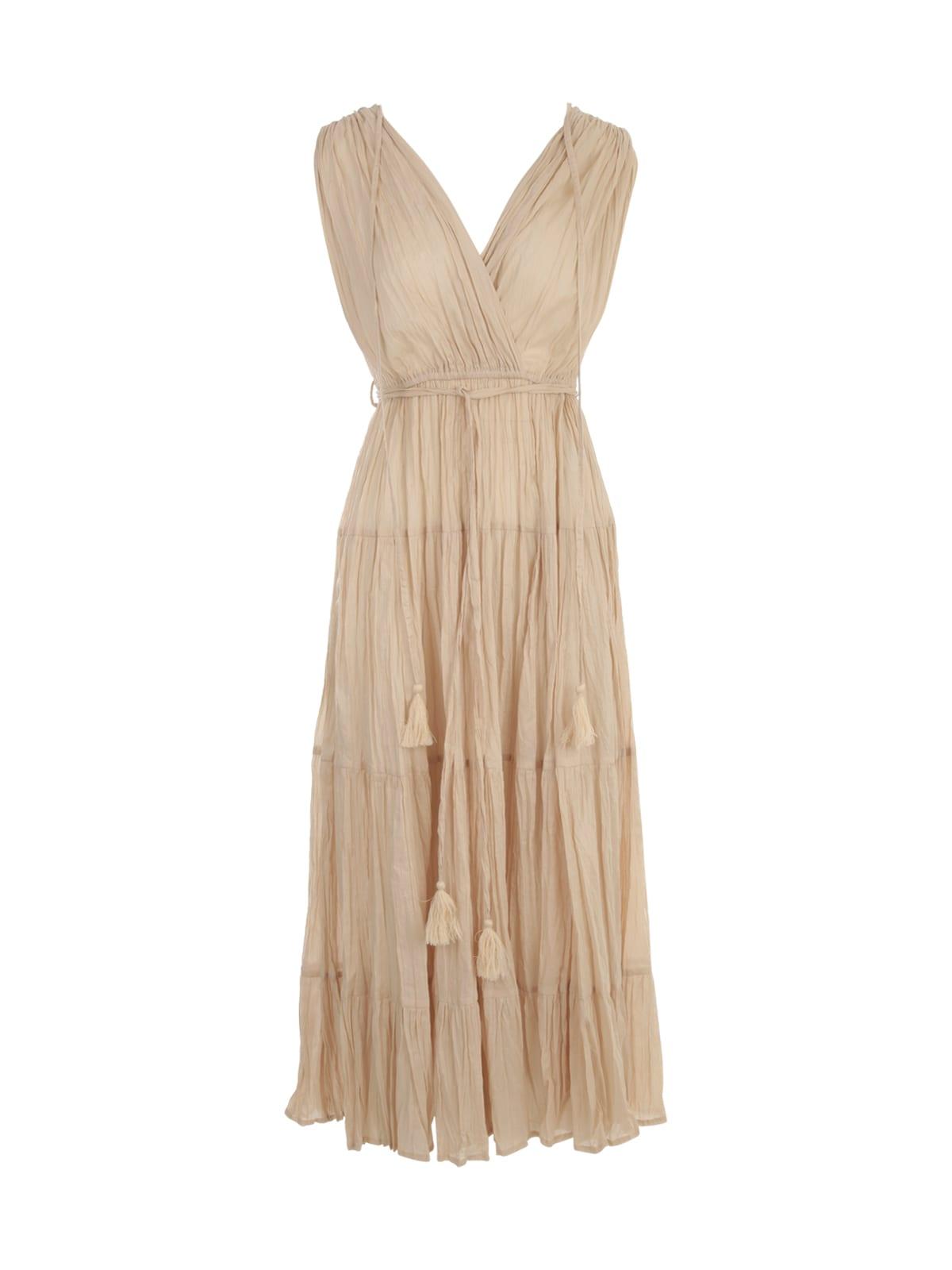 Buy Parosh Long Sleeveless Dress W/pleats online, shop Parosh with free shipping