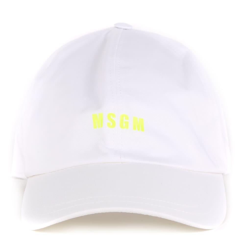 MSGM Msgm Logo White Cotton Hat