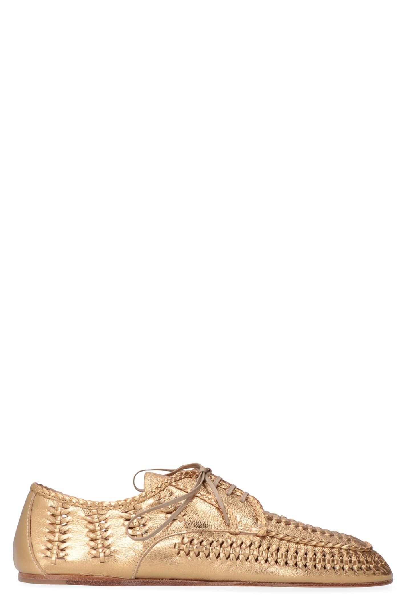 Prada Metallic Leather Lace-up Shoes