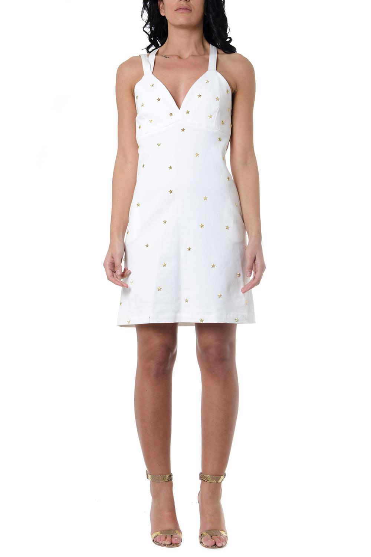 Buy Frankie Morello White Denim Dress With Studs online, shop Frankie Morello with free shipping