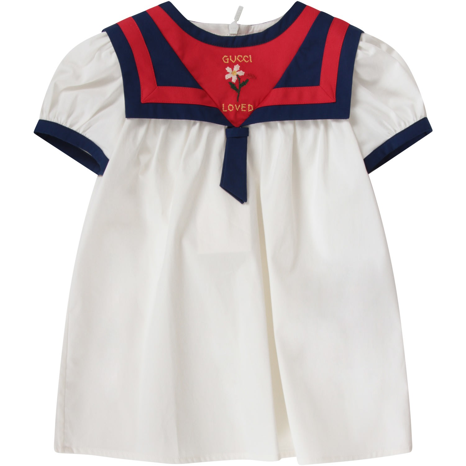 Buy Gucci Ivory Babygirl Dress With Flower online, shop Gucci with free shipping
