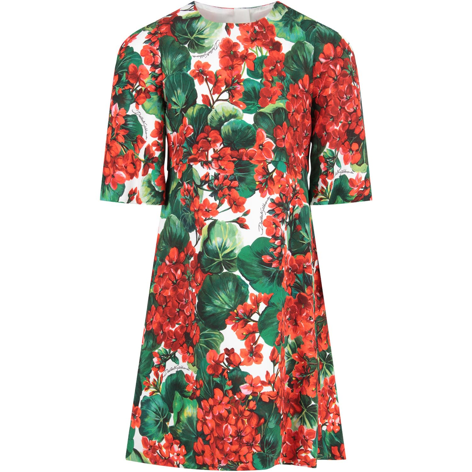Dolce & Gabbana White Girl Dress With Red Geraniums And Black Logo