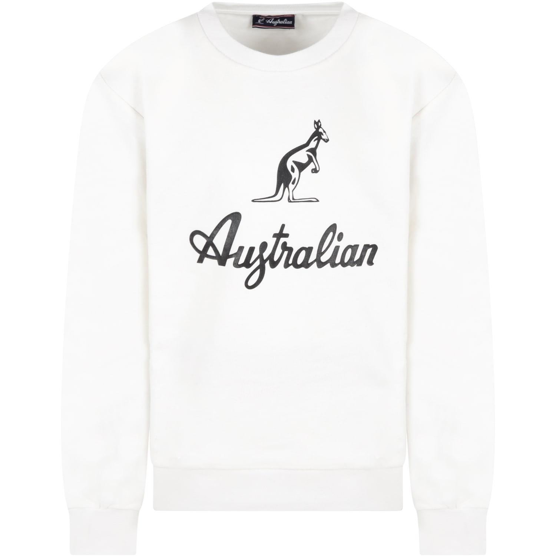 White Sweatshirt For Boy With Logo
