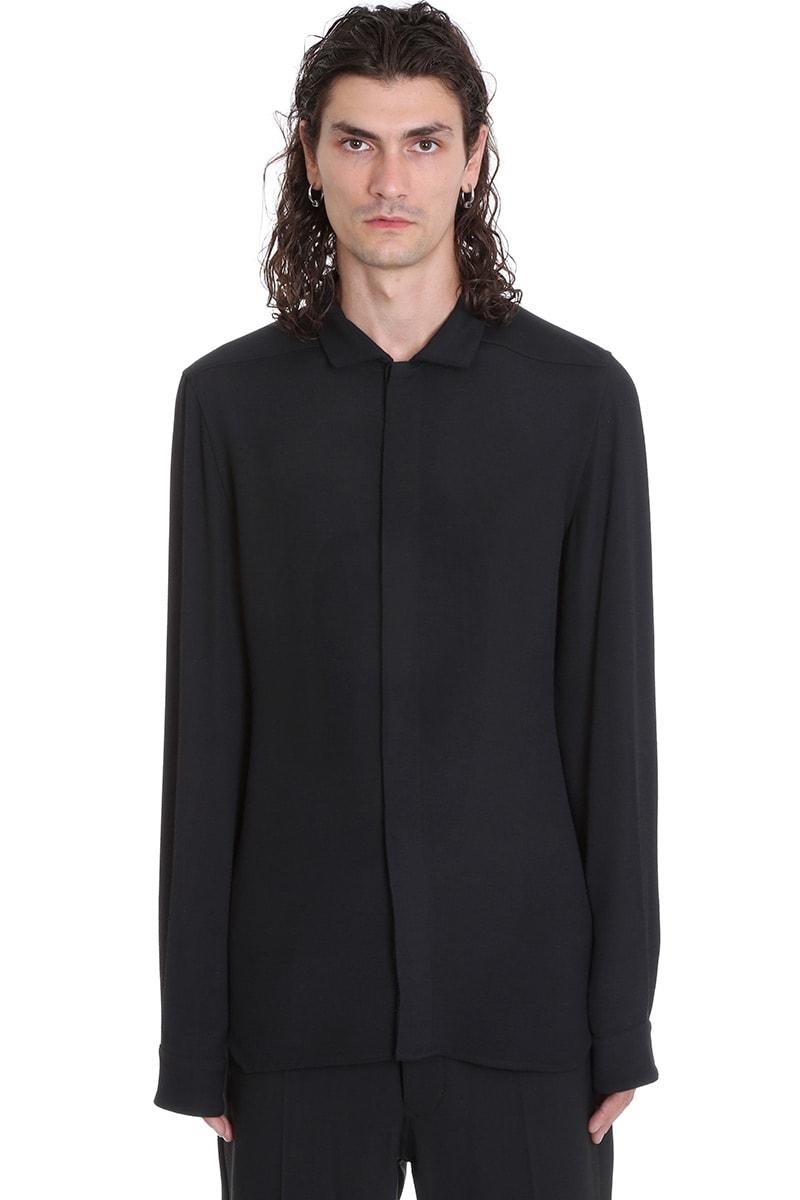 Rick Owens Office Shirt Shirt In Black Viscose