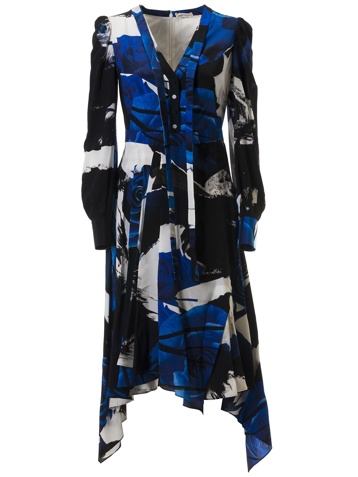 Buy Alexander McQueen Long Rose Print Dress online, shop Alexander McQueen with free shipping