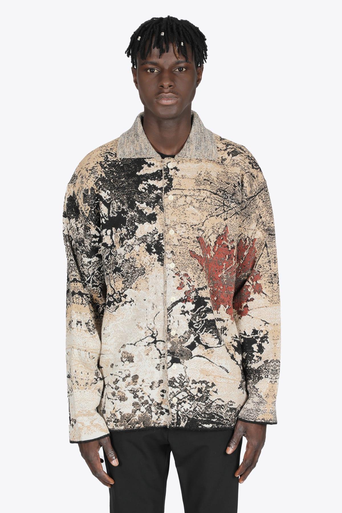 Multicolor Autumn Leaves Jaquard Wool Cardigan
