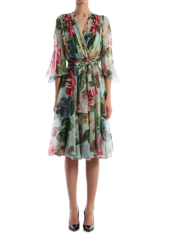 Buy Chiffon Flora Dress online, shop Dolce & Gabbana with free shipping