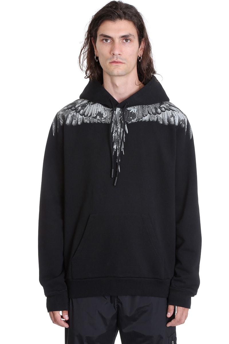 Marcelo Burlon Hoodie Camou Sweatshirt In Black Cotton