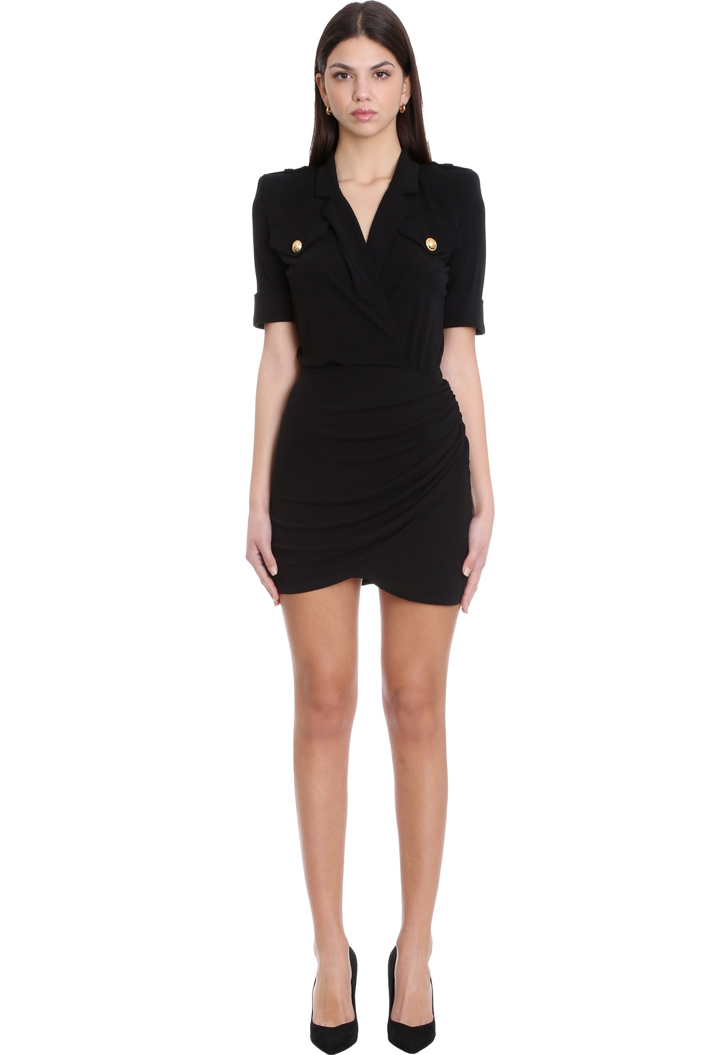 Balmain DRESS IN BLACK VISCOSE