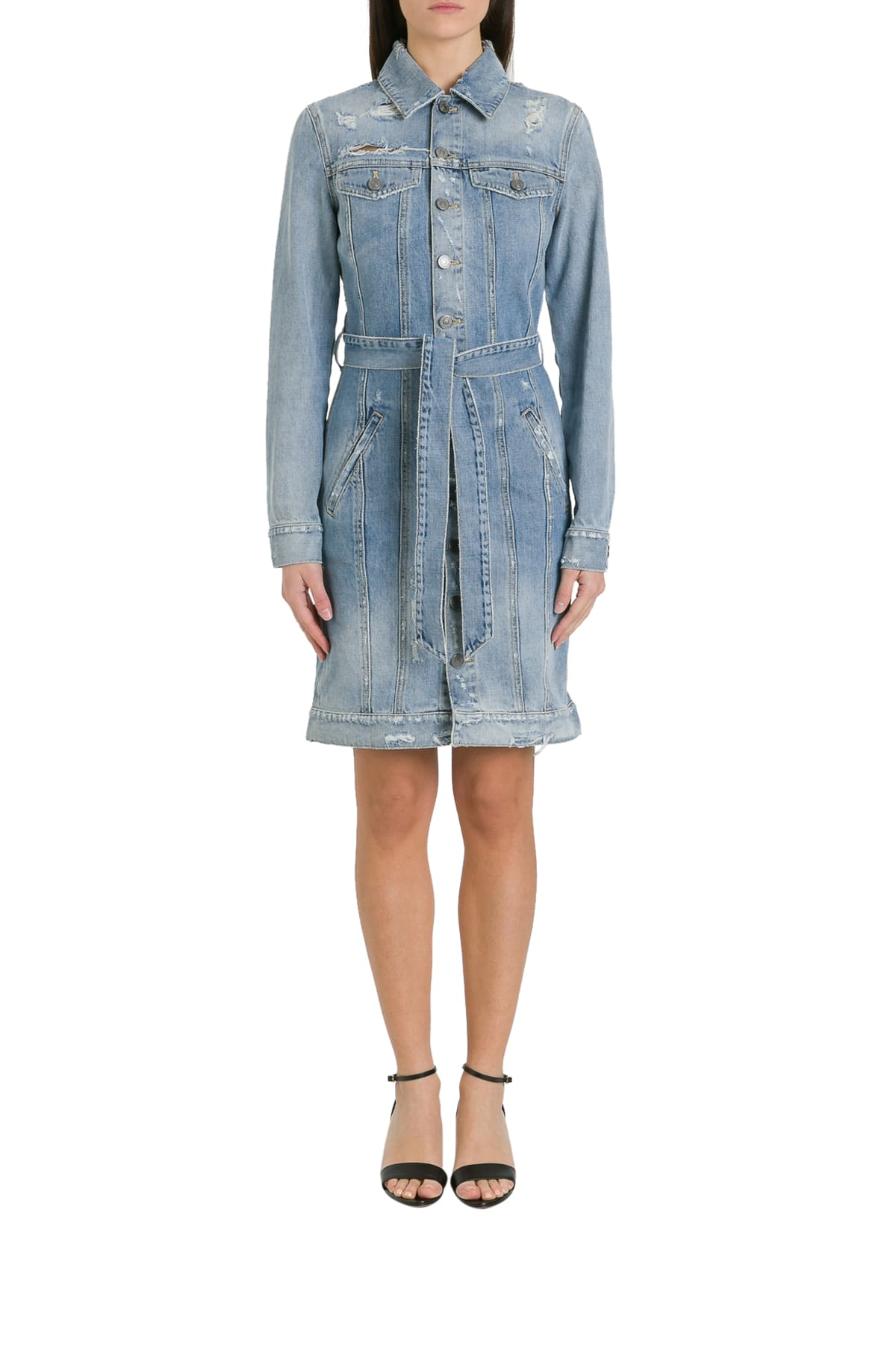 Buy Givenchy Destroyed Denim Pinafore Dress With Belt online, shop Givenchy with free shipping
