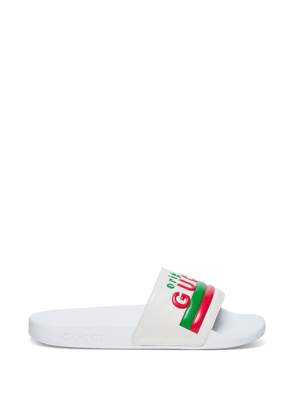 Gucci Slide Original Leather Sandals With Logo