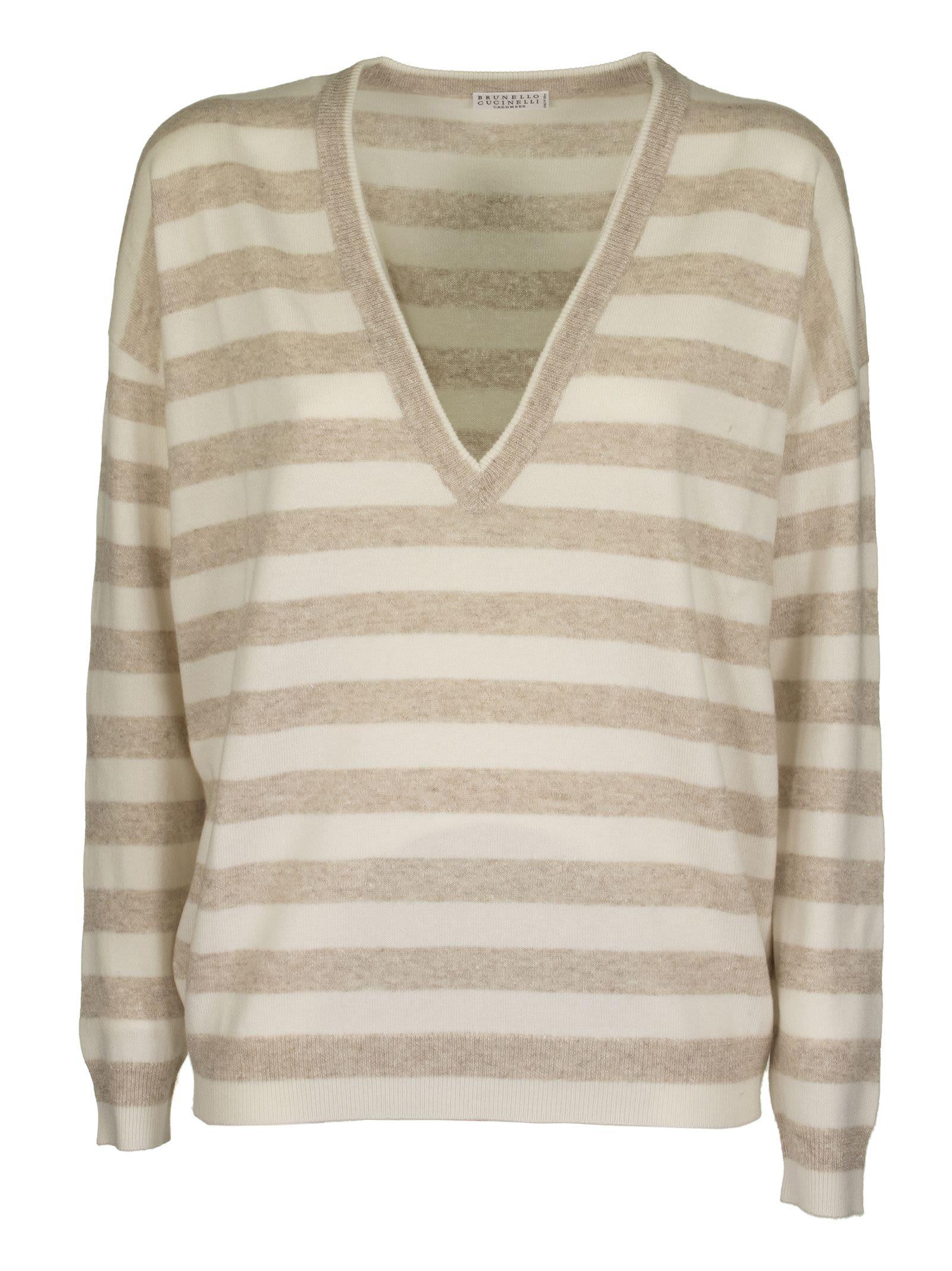 Brunello Cucinelli V-neck Sweater Cashmere And Linen Striped Sweater With Monili