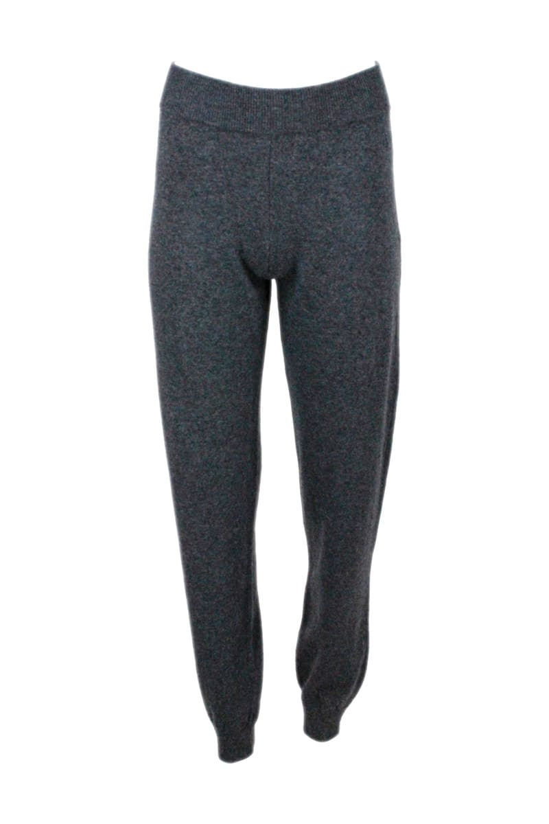 Jogging Trousers In Wool Blend With Posino At The Bottom And Waistband