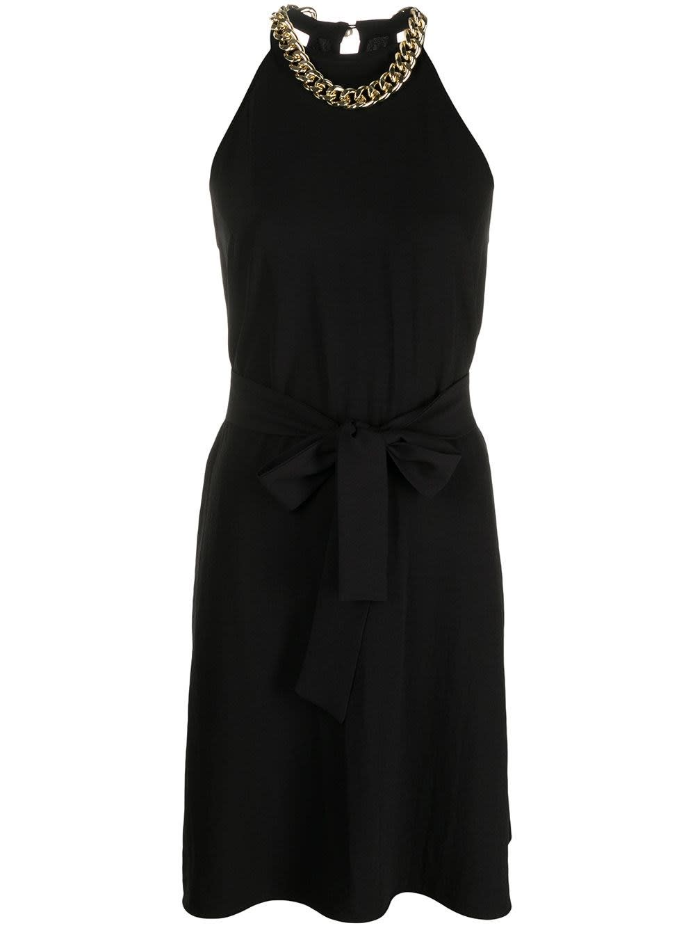 Pinko Dresses BLACK CREPE DRESS WITH CHAIN NECKLACE