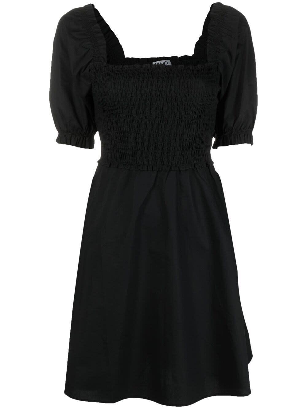 Liu •jo BLACK COTTON DRESS WITH PUFF SLEEVES