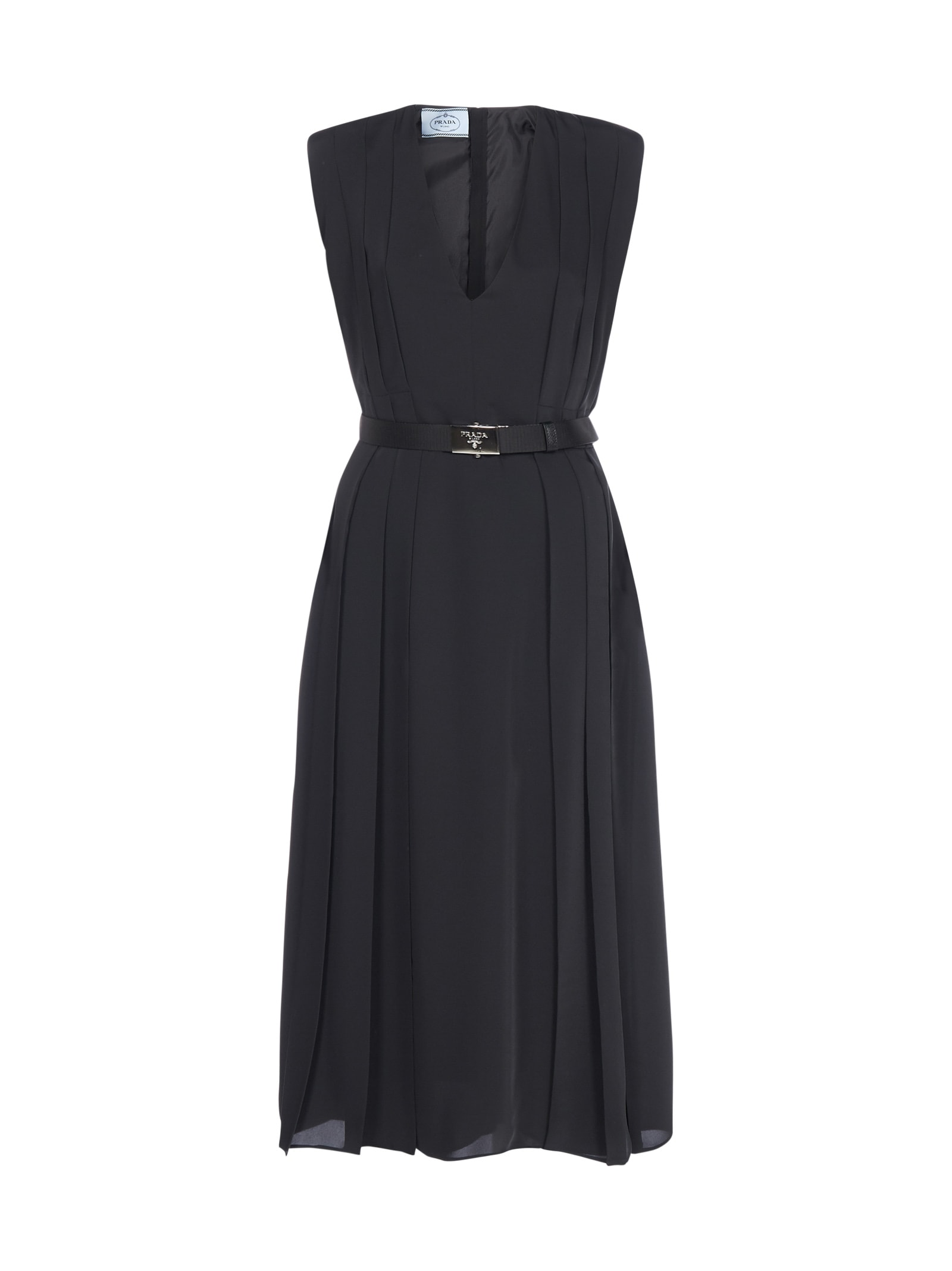 Prada Logo-buckle Belted Ponge Midi Dress