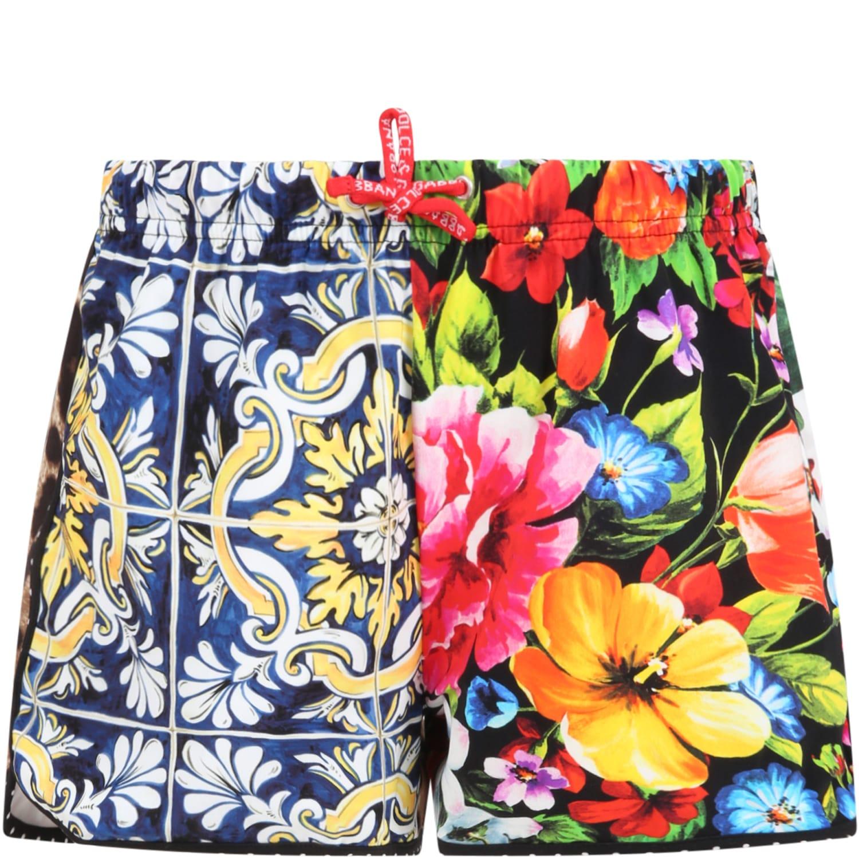 Dolce & Gabbana Shorts MULTICOLOR SWIMSHORT FOR GIRL
