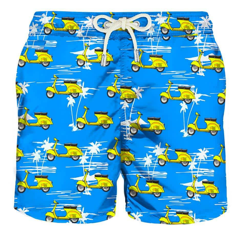 Yellow Vespa® And Palms Light Swim Shorts - Vespa® Special Edition