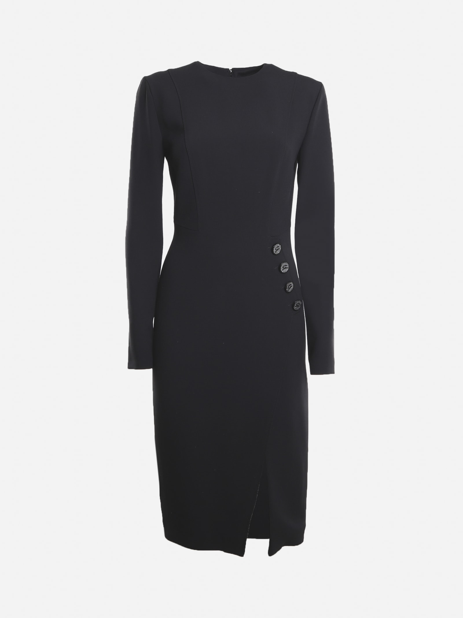Midi Dress With Side Visible Buttons