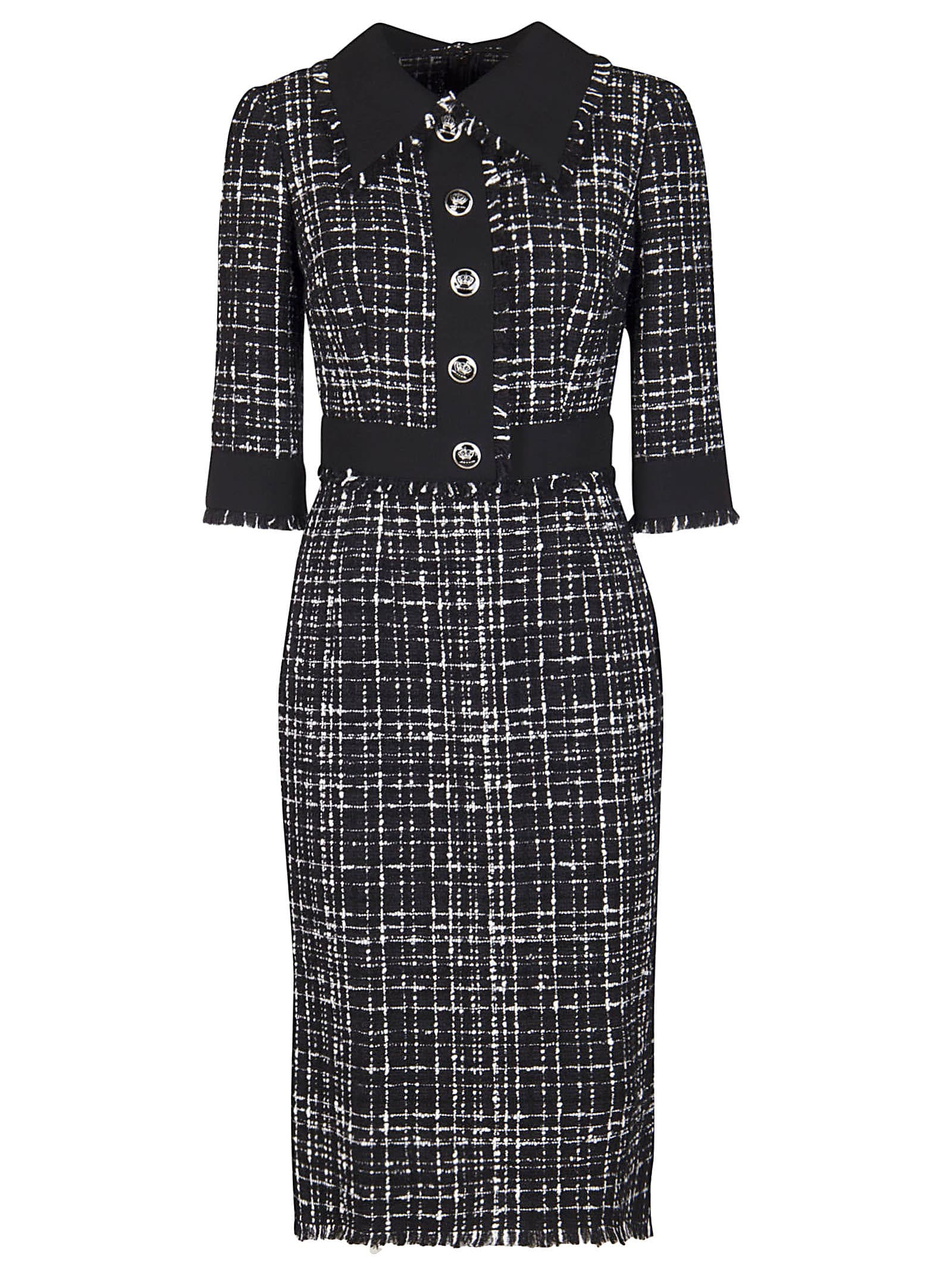 Buy Black And Grey Cotton-wool Blend Dress online, shop Dolce & Gabbana with free shipping