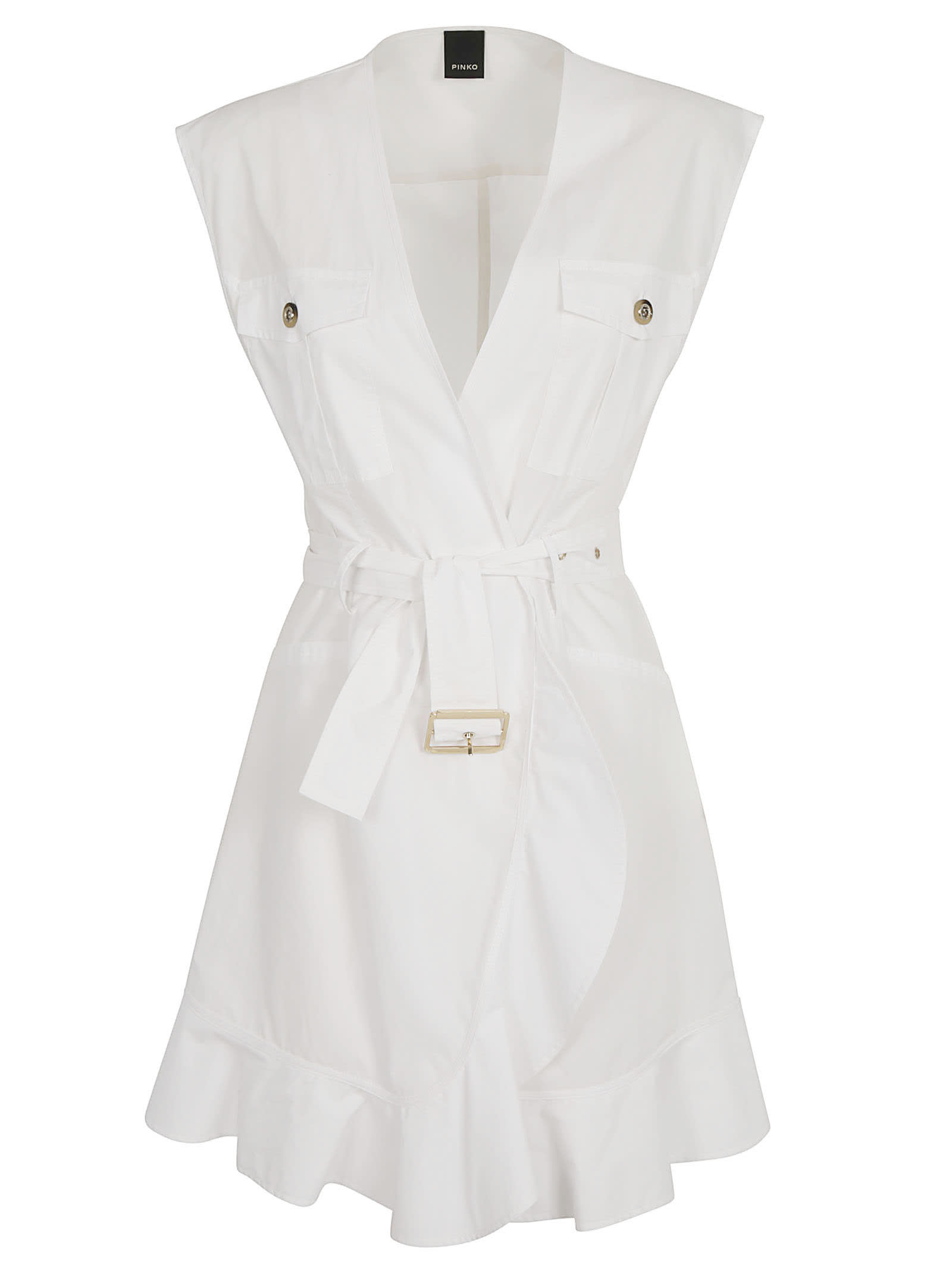 Buy Pinko Popeline Belted Sleeveless Dress online, shop Pinko with free shipping