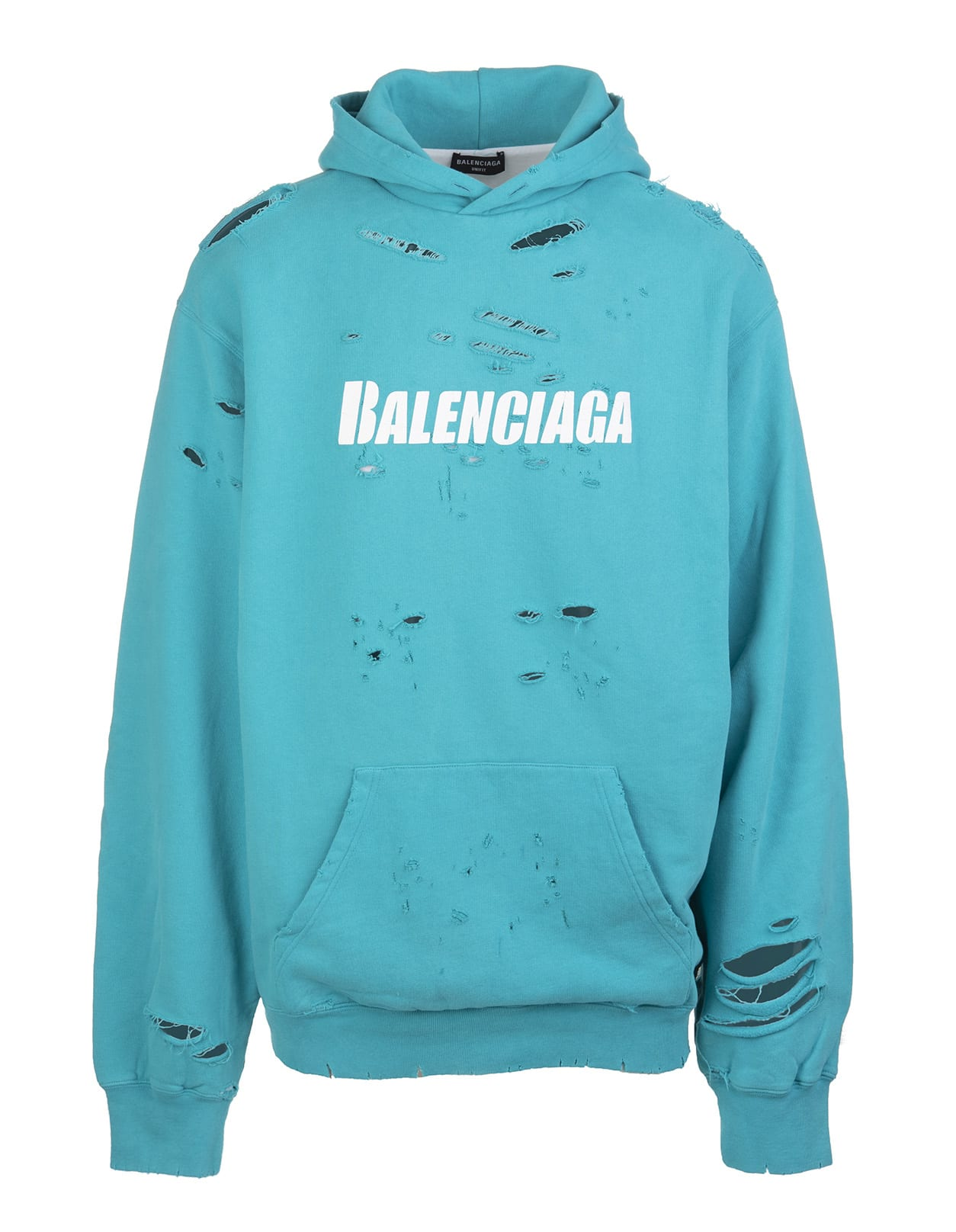 Balenciaga Cottons UNISEX TURQUOISE CAPS DESTROYED HOODIE