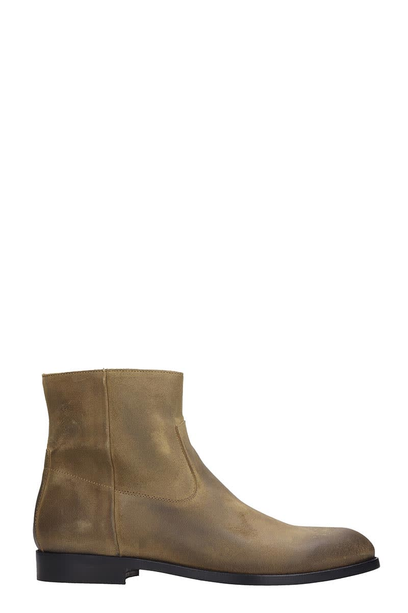 Buttero High Heels Ankle Boots In Beige Suede