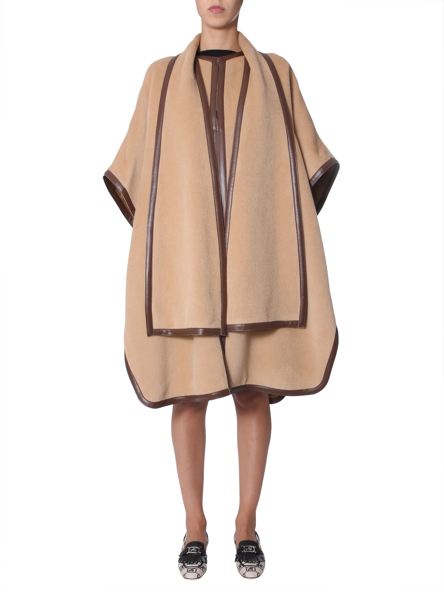 Alberta Ferretti Combed Wool Cape
