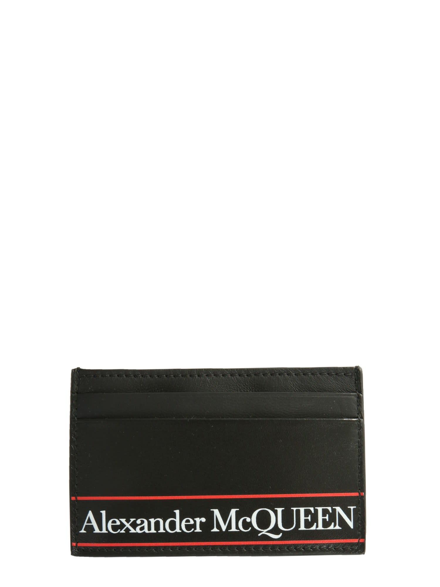 Alexander Mcqueen Card Holder With Logo In Nero