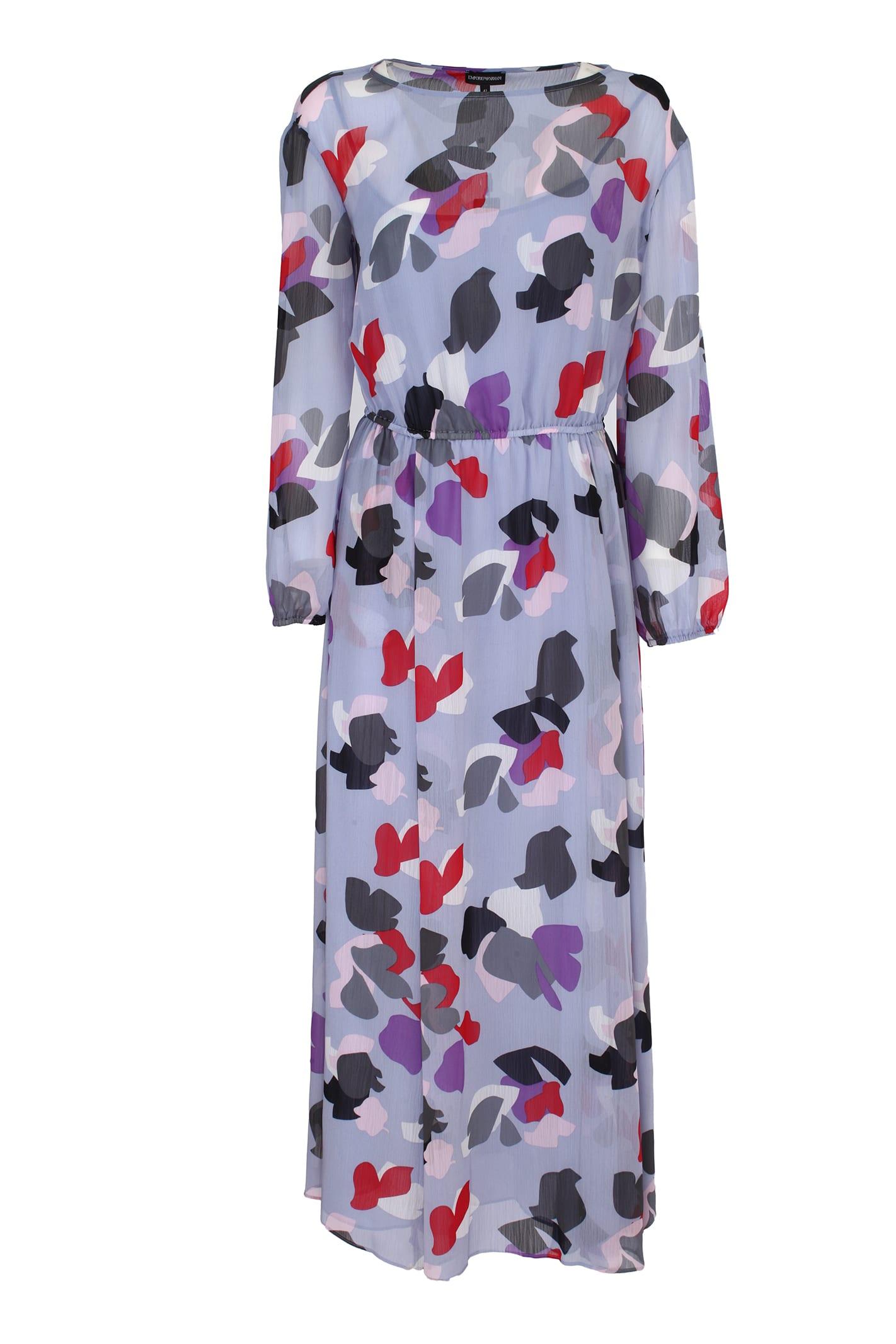 Buy Long Chiffon Dress online, shop Emporio Armani with free shipping
