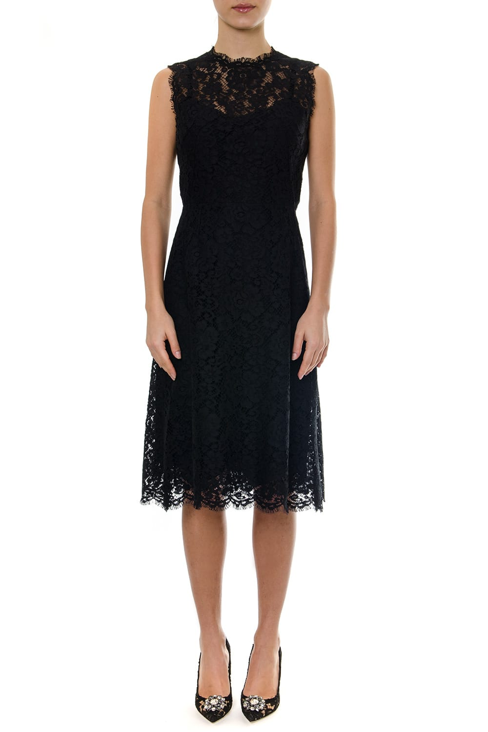 Dolce & Gabbana Midi Black Sleevelees Laced Dress