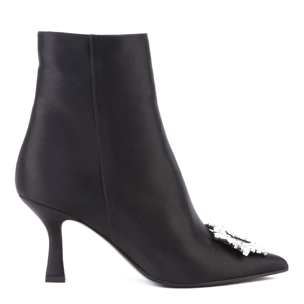 Camilla Satin Boots With Jewel Detail