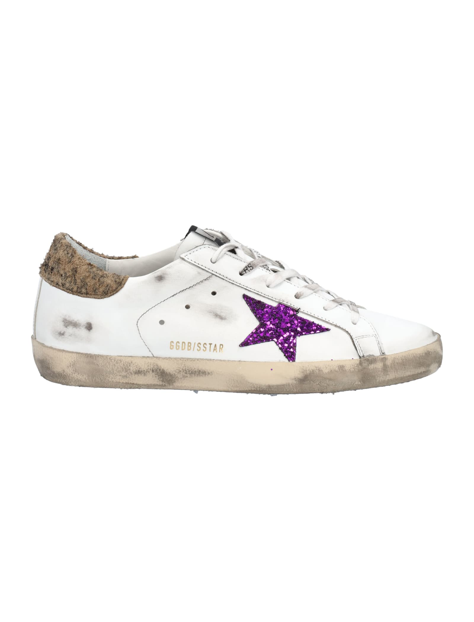 Golden Goose Super-star Sneakers In White Leather With Lavender-colored Glitter Star