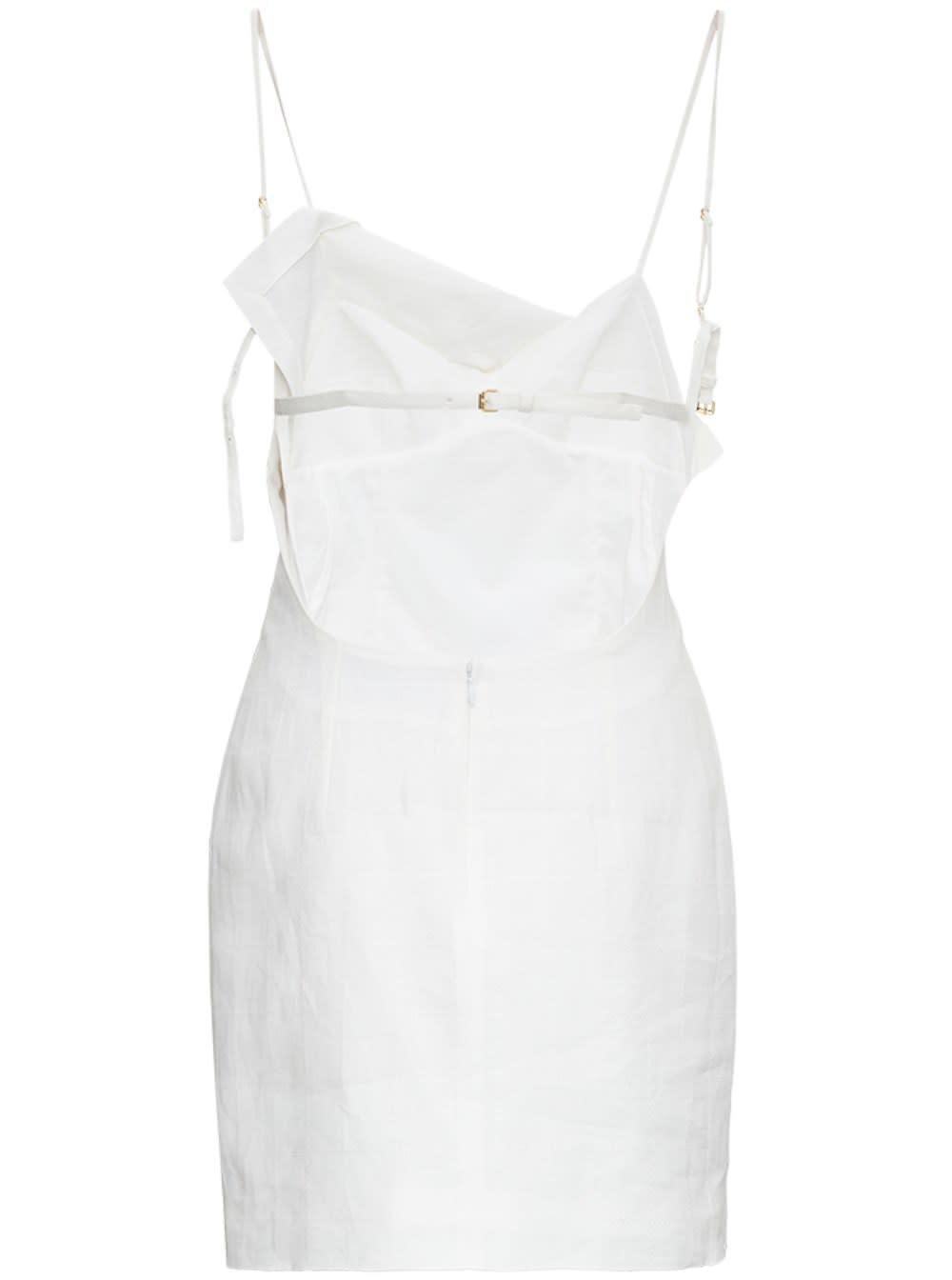 Buy Jacquemus La Robe Drap White Linen Dress online, shop Jacquemus with free shipping