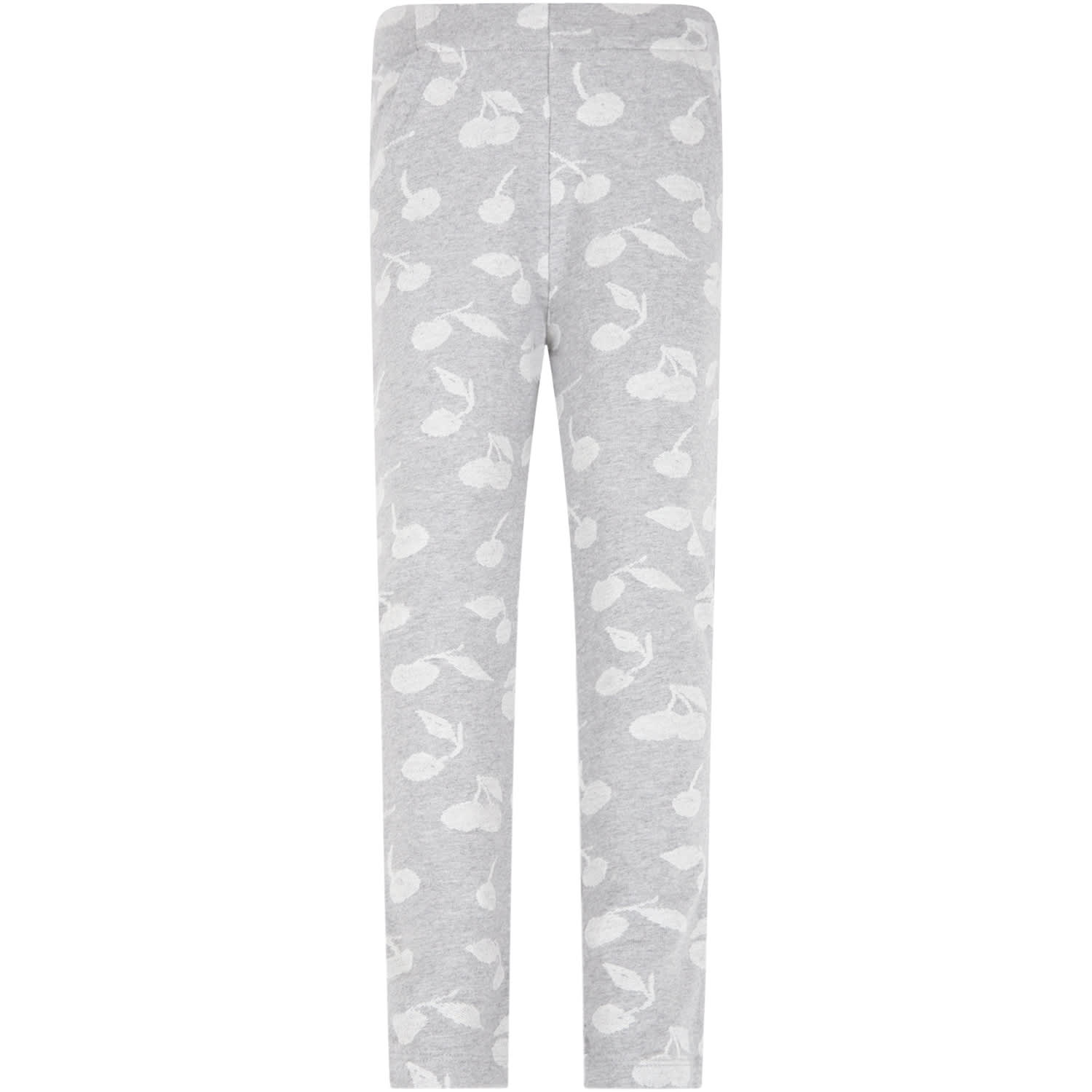 Grey Sweatpants For Girl With Cherries