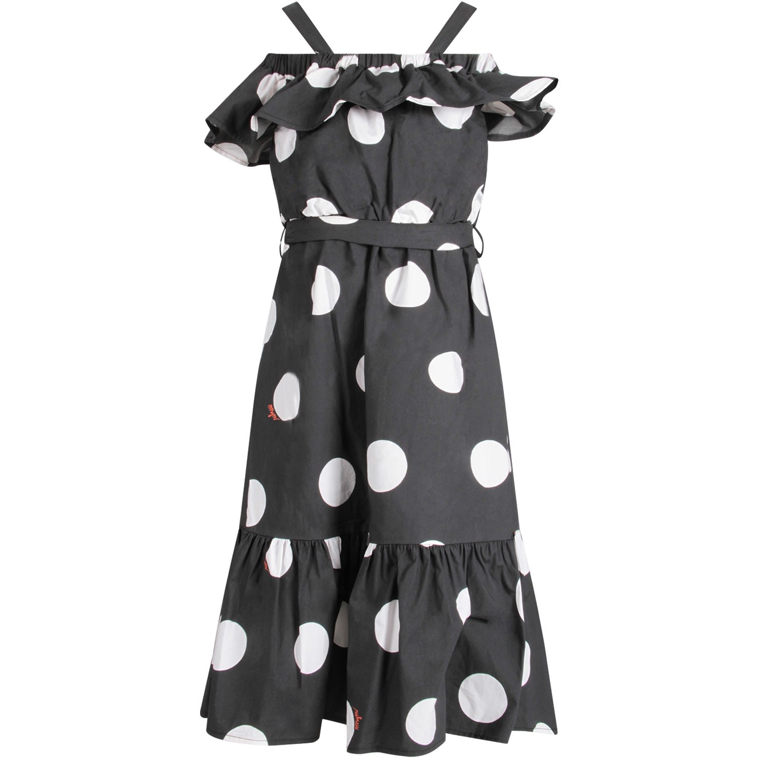 Buy MSGM Black Dress With Polka Dots For Girl online, shop MSGM with free shipping