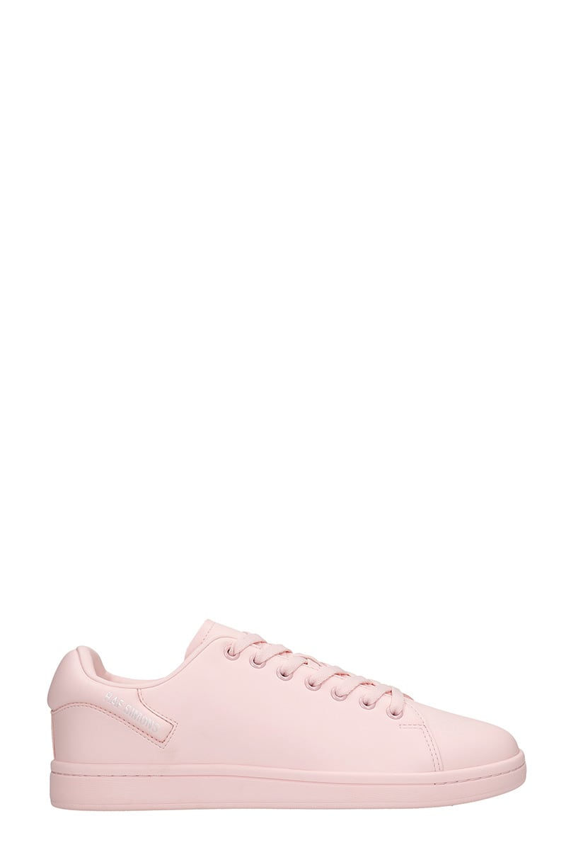 Raf Simons ORION SNEAKERS IN ROSE-PINK LEATHER