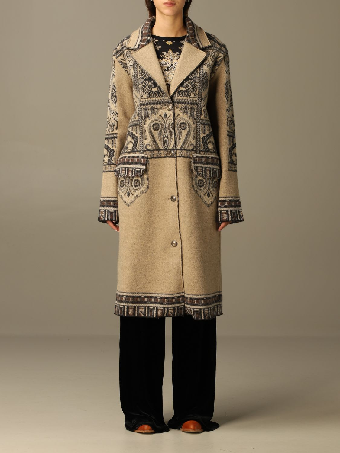 Etro Coat Etro Wool Coat With Cashmere Motif