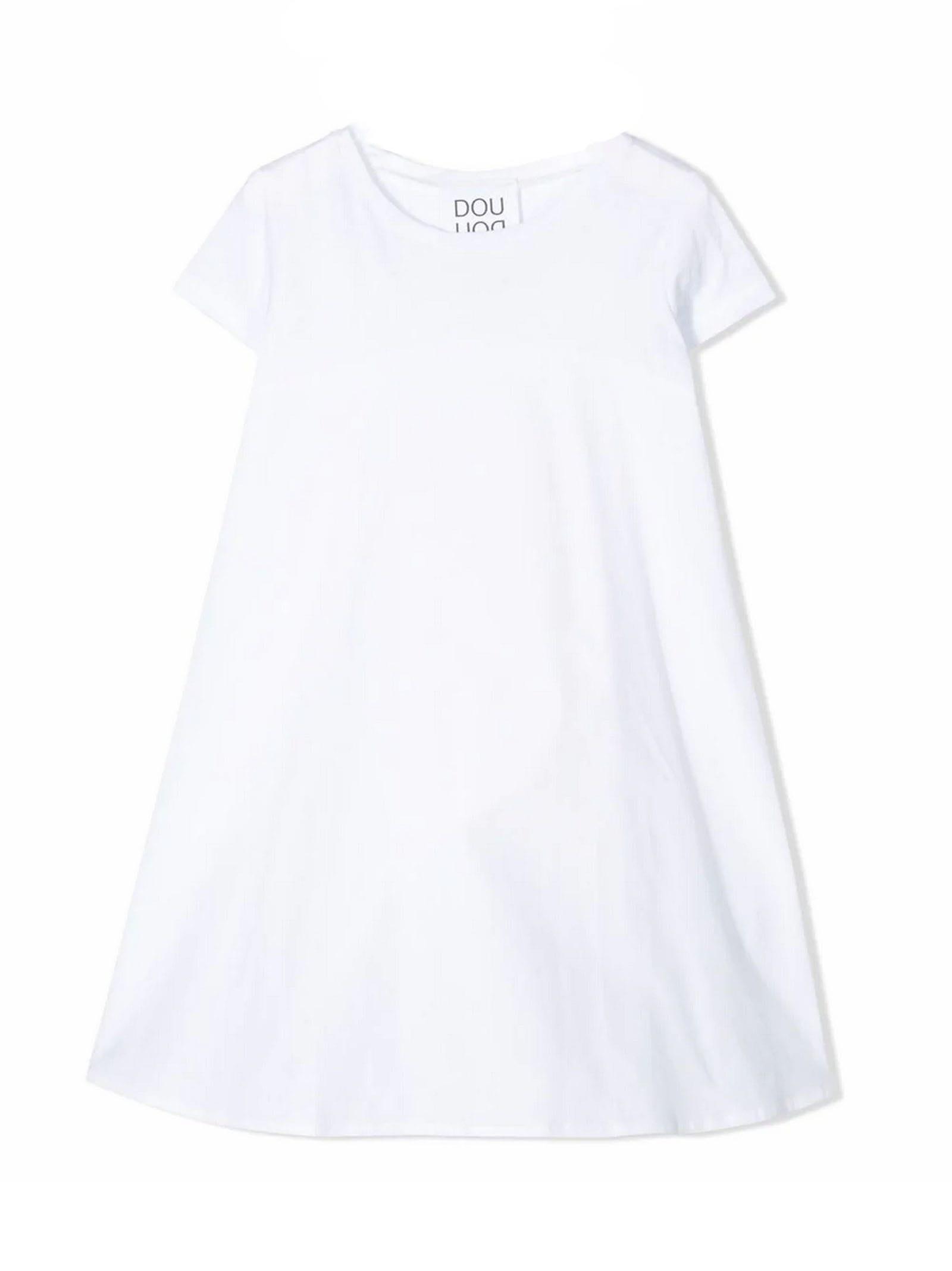 White Cotton Flared Dress