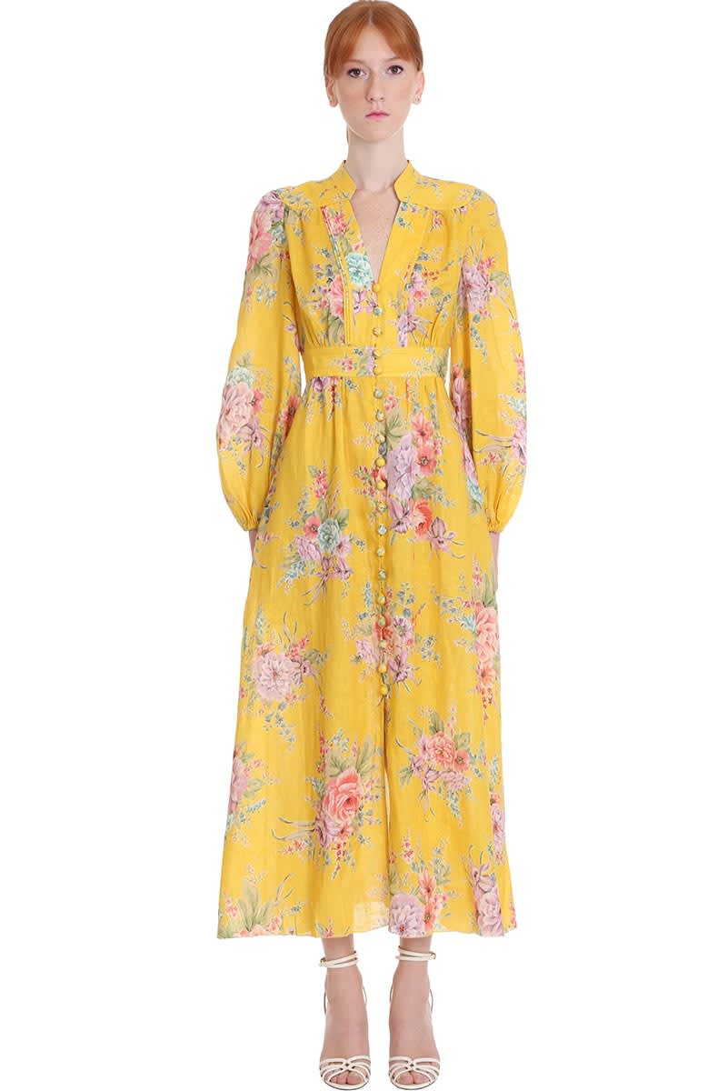 Buy Zimmermann Zinnia Dress In Yellow Cotton And Linen online, shop Zimmermann with free shipping