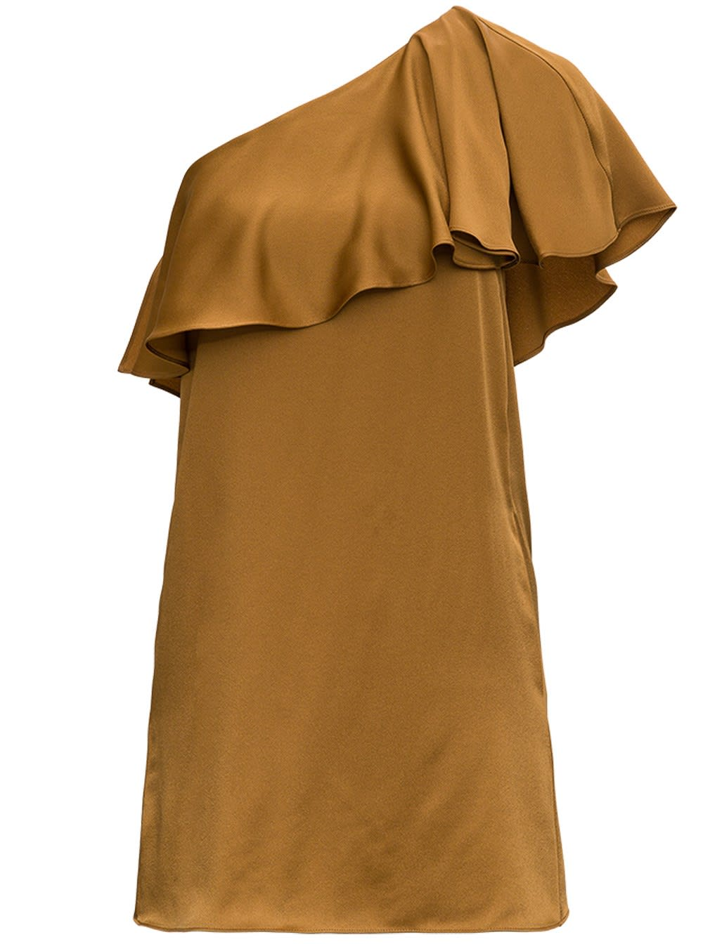 Buy One Shoulder Dress With Satin Crepe Frill online, shop Saint Laurent with free shipping
