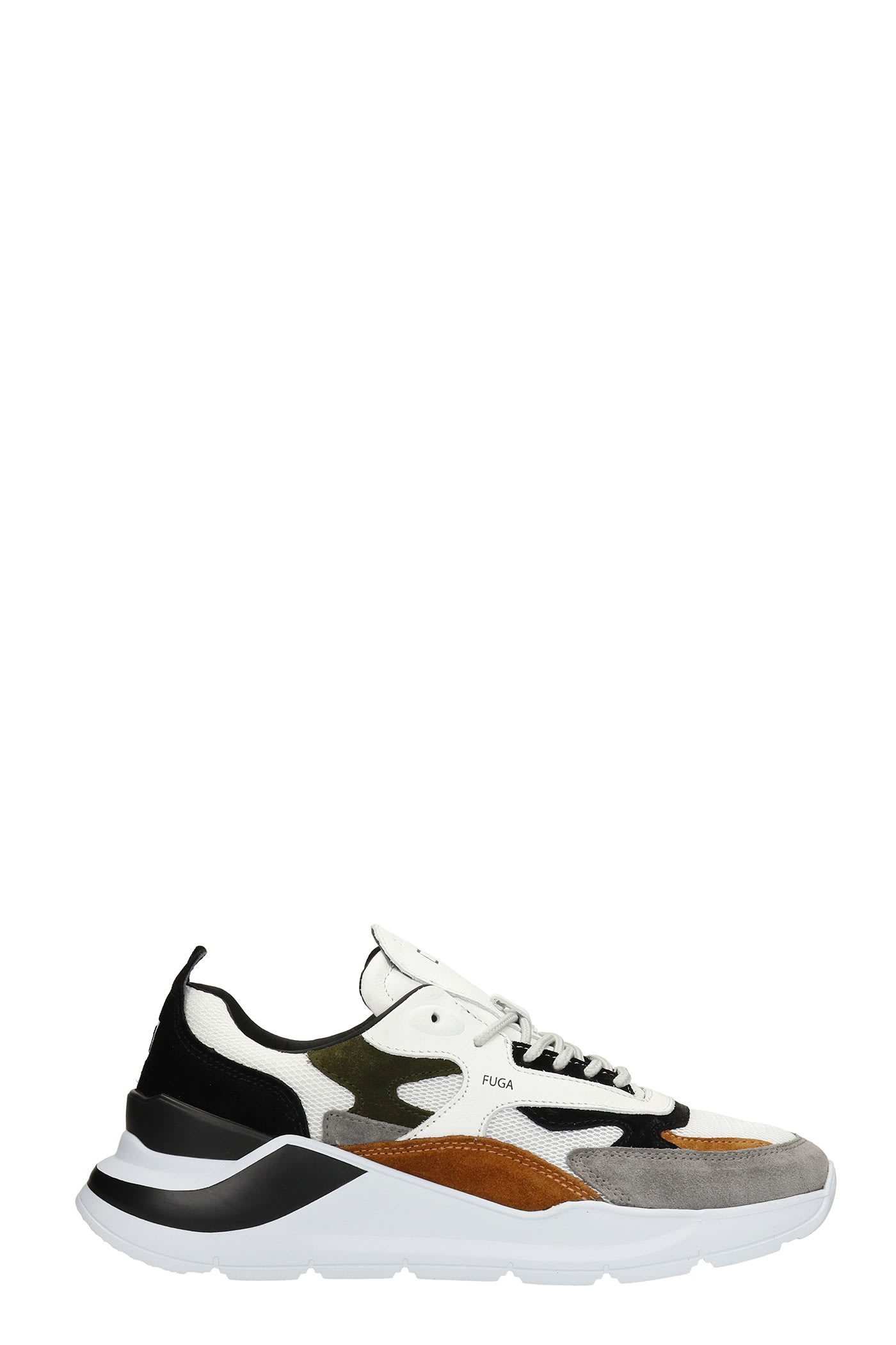 Fuga Sneakers In White Suede And Fabric