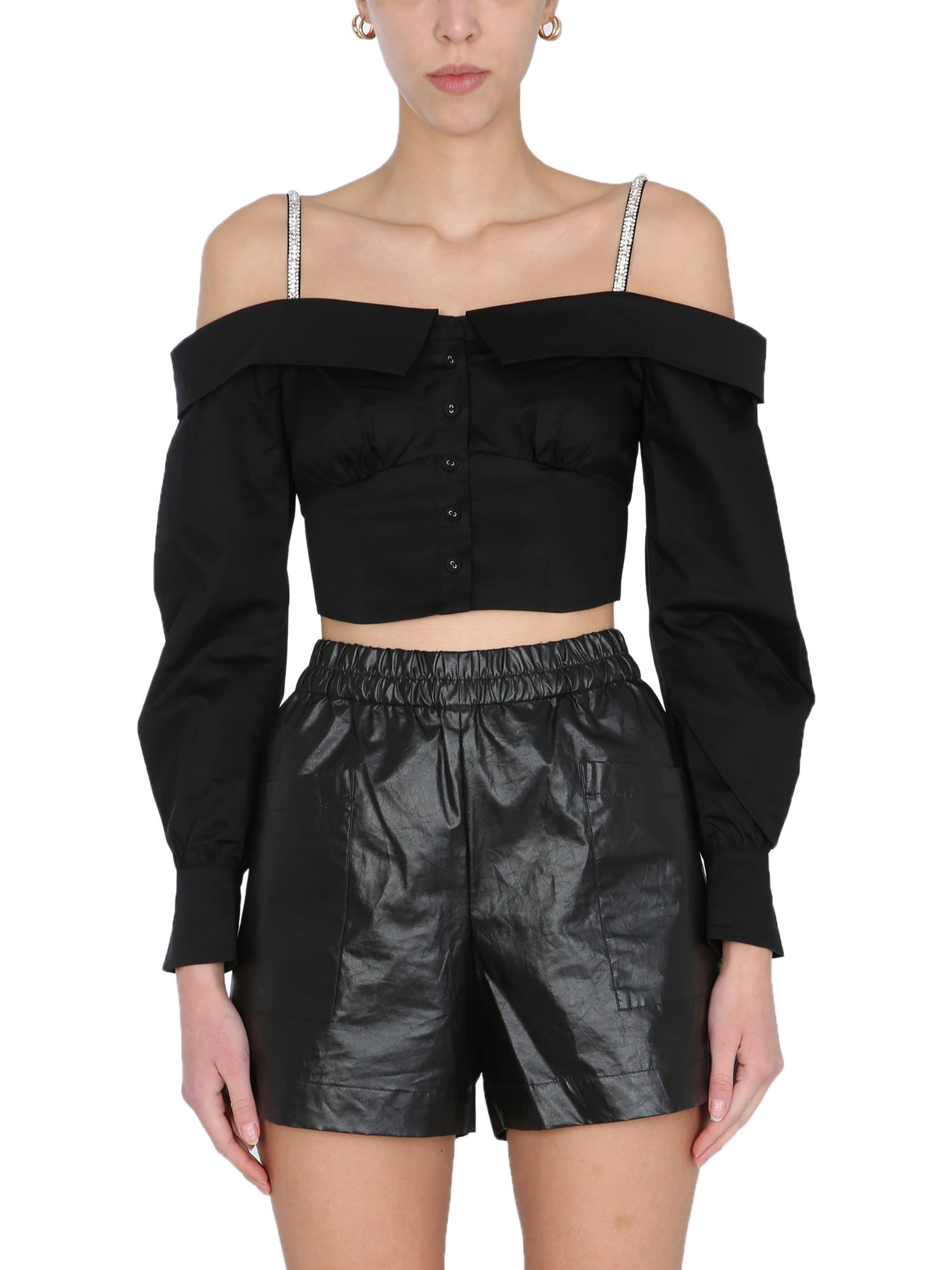 Self-Portrait CROPPED TOP WITH JEWEL DETAILS