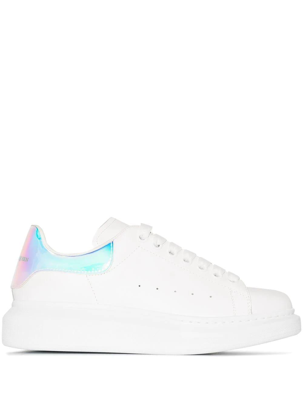 Alexander McQueen Woman White Oversize Sneakers With Iridescent Spoiler