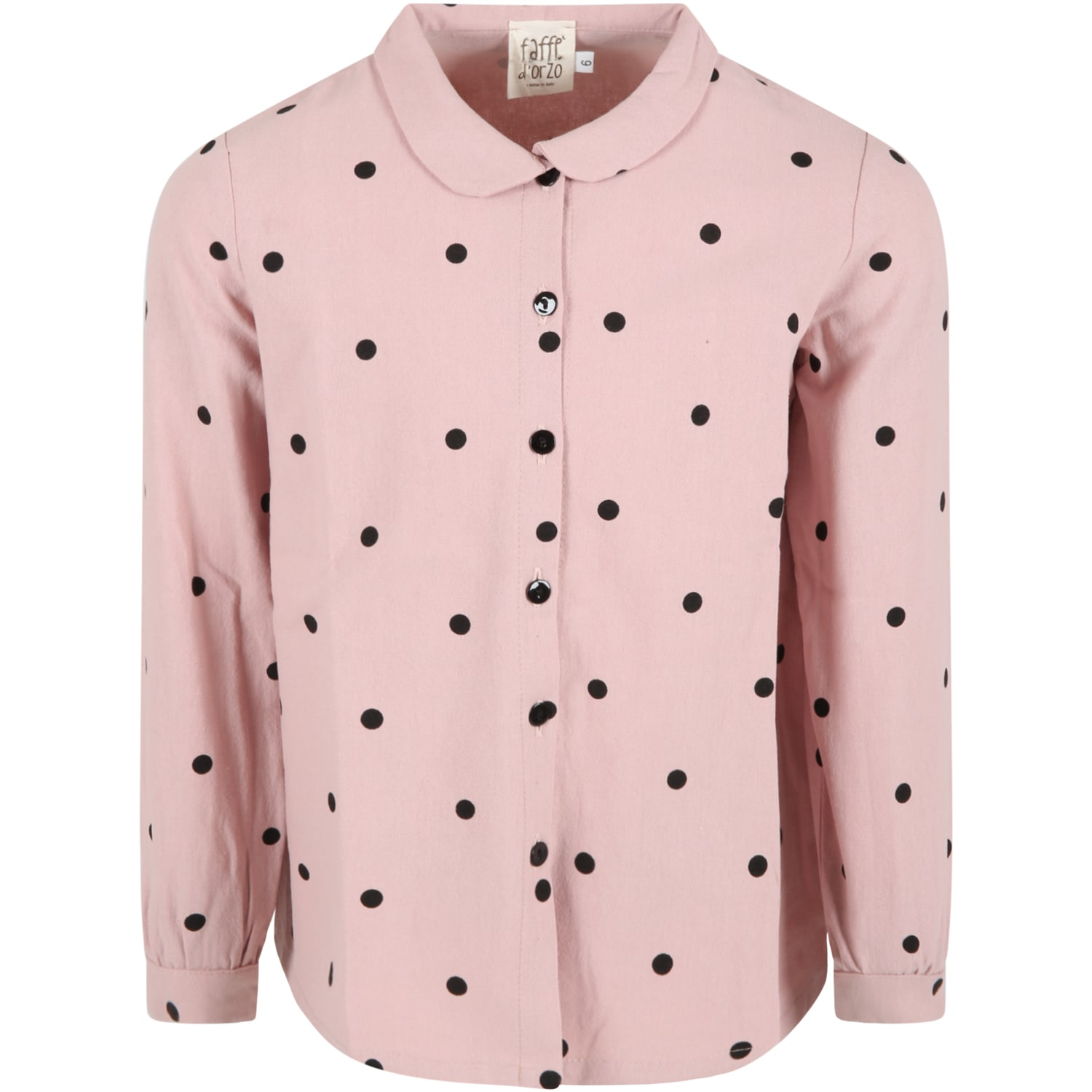 Caffe dOrzo Pink ele Shirt For Girl With Black Polka Dots