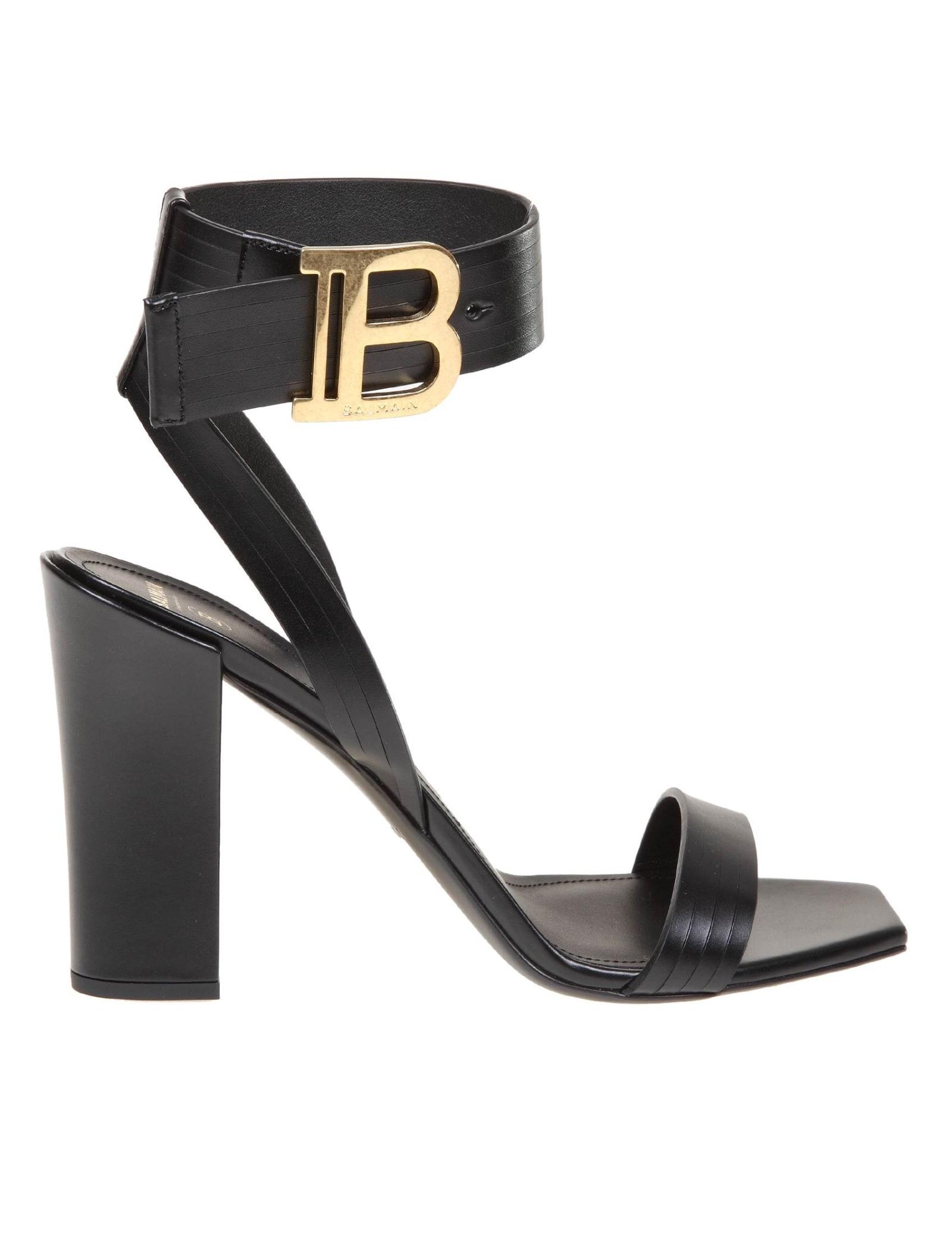 Balmain High heels STAR SANDAL IN BLACK LEATHER