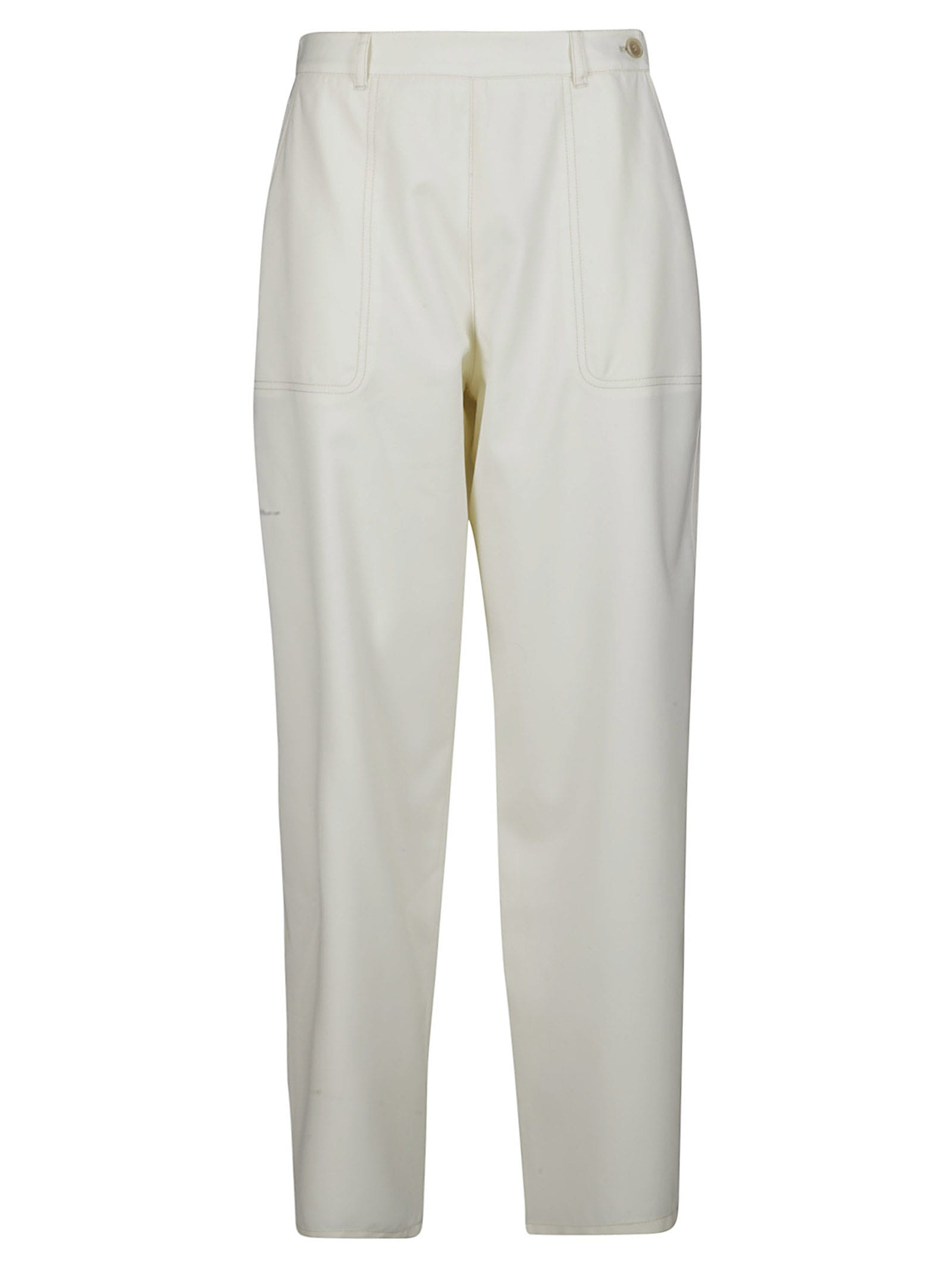 Agnona White Wool Trousers In Cream