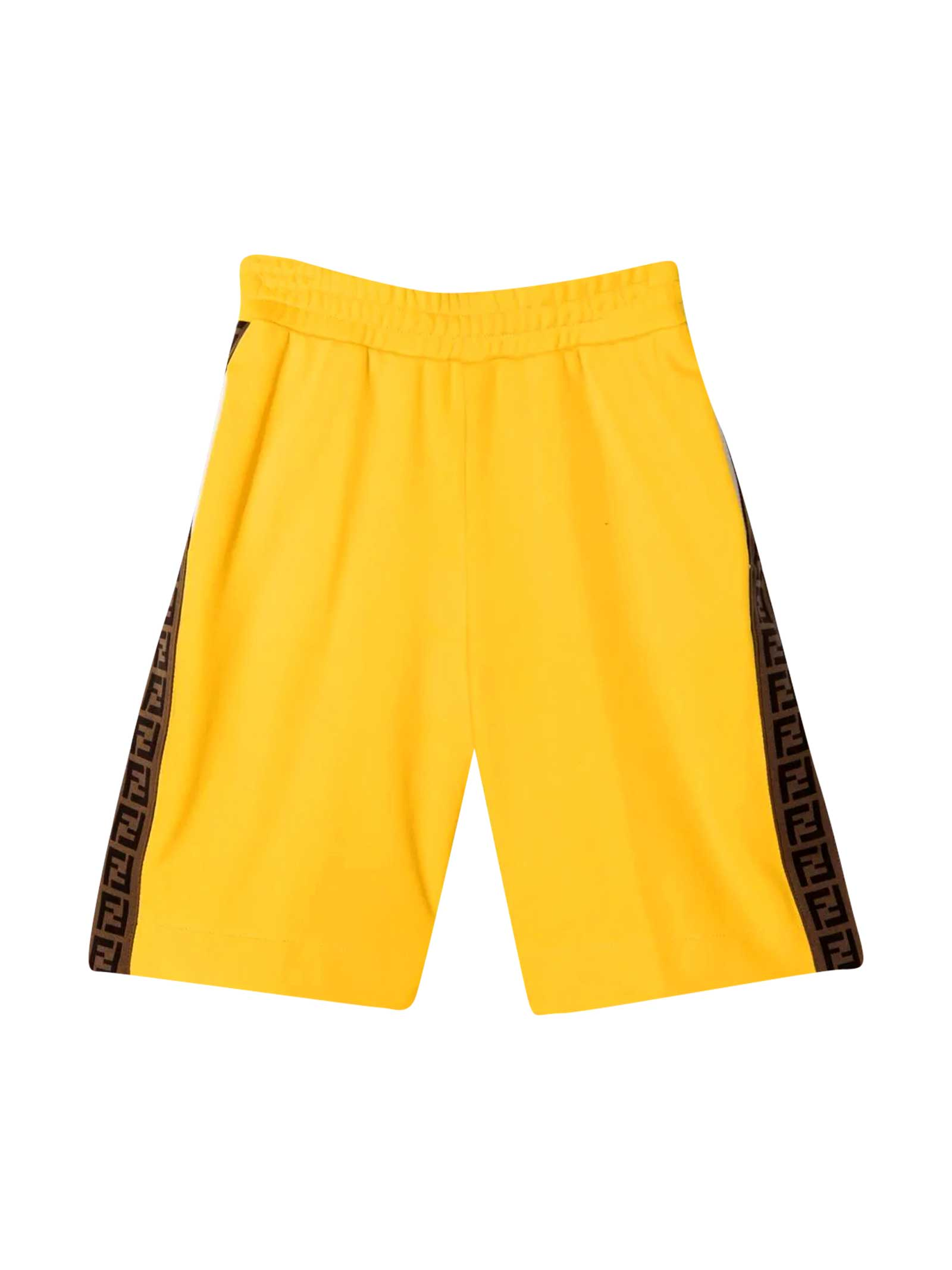 Fendi Clothing YELLOW TEEN BERMUDA SHORTS WITH LOGO SIDE BANDS
